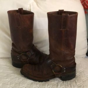 Brown Leather Frye Motorcycle Harness Boots
